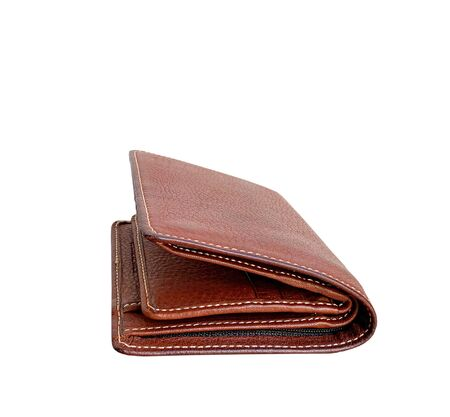 Close up brown leather wallet isolated on white background Standard-Bild