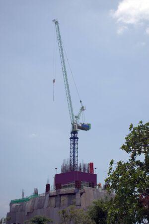 Crane building a building in Thailand