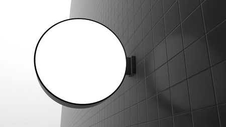 letreros: Blank Circle shape signboards on the wall - 3D rendering
