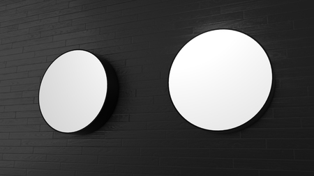 message board: White Circle shape signboards on the wall - 3D rendering Stock Photo