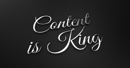 online specials: Luxury Design 3d Chrome Content is King on Black Leather - Business Concept