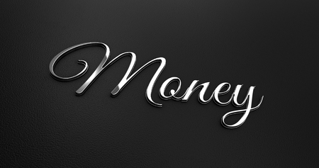 online specials: Luxury Design 3d Chrome Money on Black Leather - Business Concept