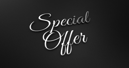 online specials: Luxury Design 3d Chrome Special Offer on Black Leather - Business Concept