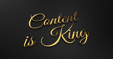 online specials: Luxury Design 3d Gold Content is King on Black Leather - Business Concept Stock Photo
