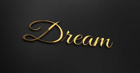 online specials: Luxury Design 3d Gold Dream on Black Leather - Business Concept Stock Photo
