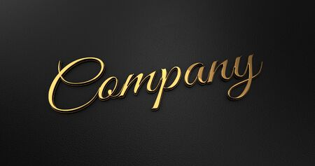 online specials: Luxury Design 3d Gold Company on Black Leather - Business Concept Stock Photo