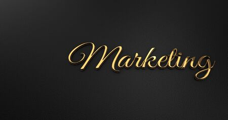 online specials: Luxury Design 3d Gold Matketing on Black Leather - Business Concept Stock Photo