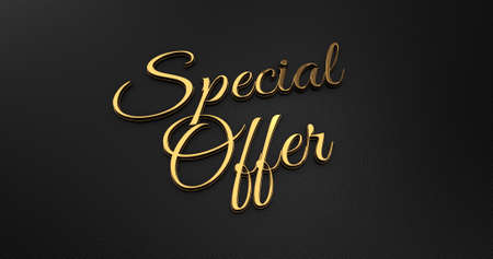 online specials: Luxury Design 3d Gold Special Offer on Black Leather - Business Concept Stock Photo