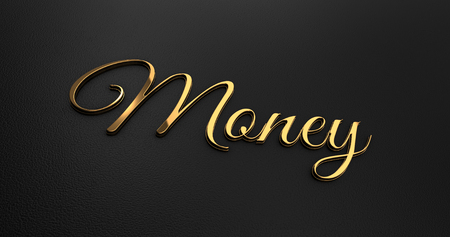 online specials: Luxury Design 3d Gold Money on Black Leather - Business Concept