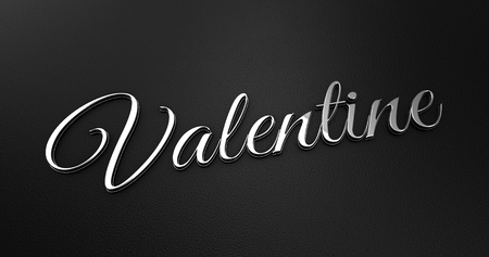 black leather: Luxury Design 3d Chrome Valentine on Black Leather - Valentine Concept