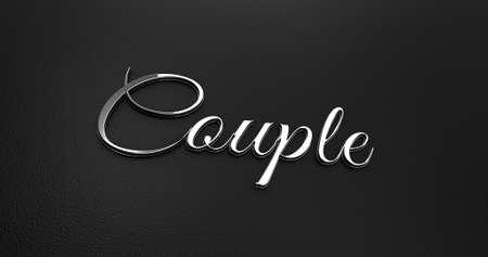black leather: Luxury Design 3d Chrome Couple on Black Leather - Valentine Concept Stock Photo