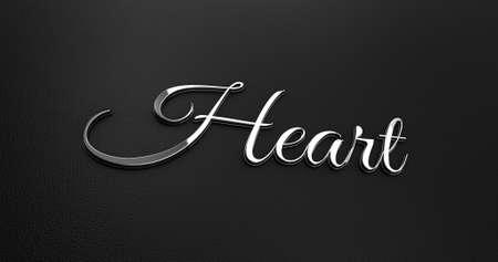 black leather: Luxury Design 3d Chrome Heart on Black Leather - Valentine Concept Stock Photo