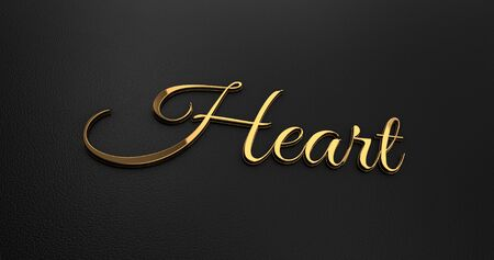 gold heart: Luxury Design 3d Gold Heart on Black Leather - Valentine Concept