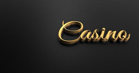 black leather: Luxury Design 3d Gold Casino on Black Leather - Casino Concept Stock Photo