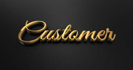online specials: Luxury Design 3d Gold Customer on Black Leather - Business Concept Stock Photo