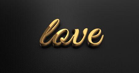 black leather: Luxury Design 3d Gold Love on Black Leather - Valentine Concept