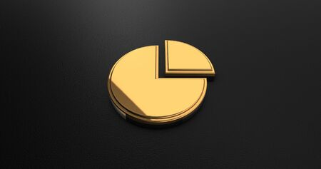 online specials: Luxury Design 3d Gold Pie Chart Icon on Black Leather - Business Concept
