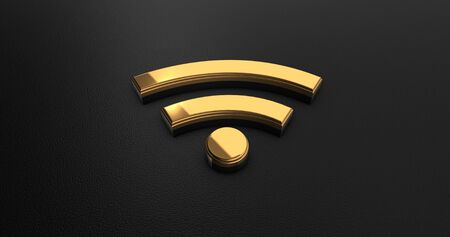 online specials: Luxury Design 3d Gold Wifi Icon on Black Leather - Business Concept
