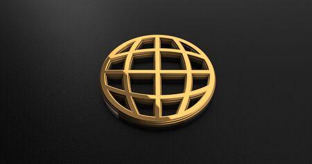 gold globe: Luxury Design 3d Gold Globe Icon on Black Leather