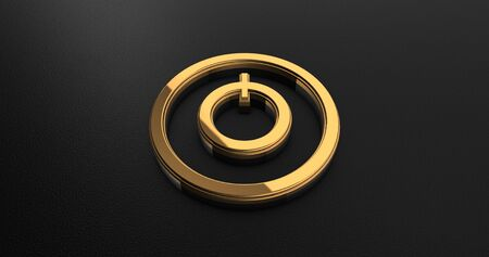 electrical part: Luxury Design 3d Gold Power Icon on Black Leather Stock Photo