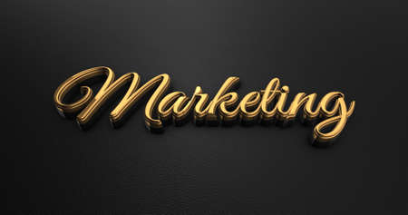 black leather: Luxury Design 3d Gold Marketing on Black Leather - Business Concept