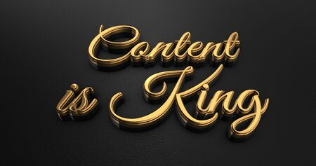 content writing: Luxury Design 3d Gold Content is King on Black Leather - Business Concept Stock Photo