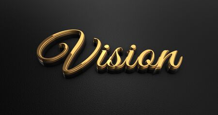vision concept: Luxury Design 3d Gold Vision on Black Leather - Business Concept