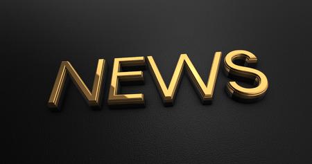 news cast: Luxury Design 3d Gold News on Black Leather