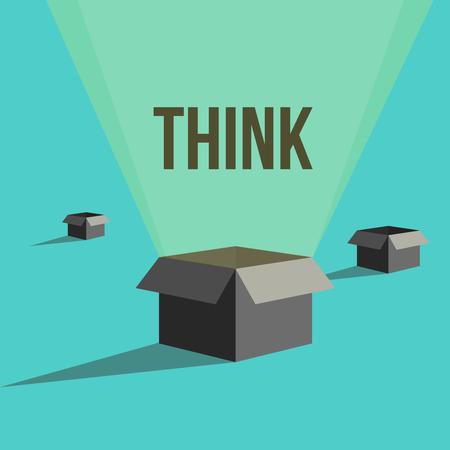 outside the box: think outside the box Illustration