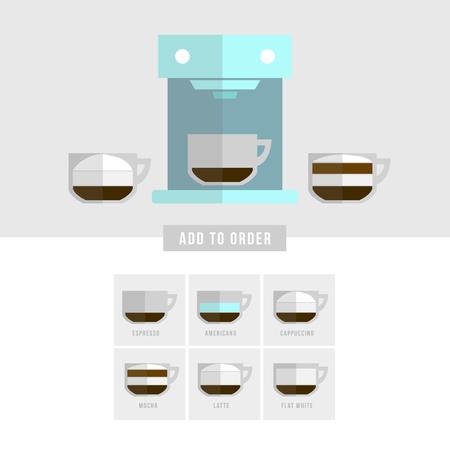 Coffee Vector Icon Set-Menü. Flach Stil Lizenzfrei Nutzbare ...