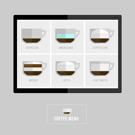 con: Set of coffee menu with a cups of coffee drinks in modern style Illustration