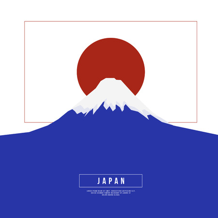 fuji mountain: Graphic Design Japan Concept - Fuji Mountain and The Red Sun on Japan Flag