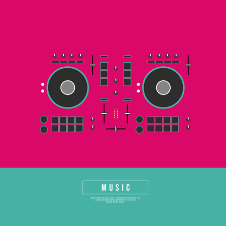 remix: Graphic Design Musical on World off Concept - DJ Turntables in Minimal Style