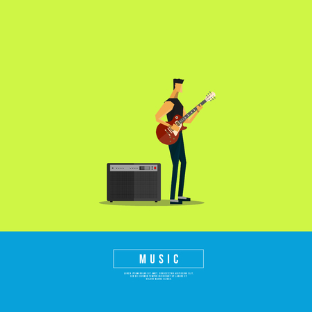 frets: Graphic Design Musical on World off Concept - Rock Star in Minimal Style Illustration