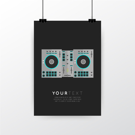 turntables: A4  A3 format poster minimal abstract DJ Turntables design with your text, paper clips and shadow Illustration