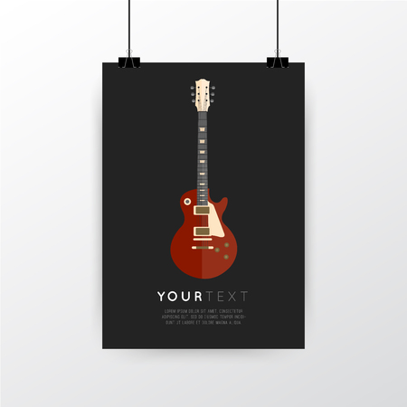 a3: A4  A3 format poster minimal abstract Guitar design with your text, paper clips and shadow