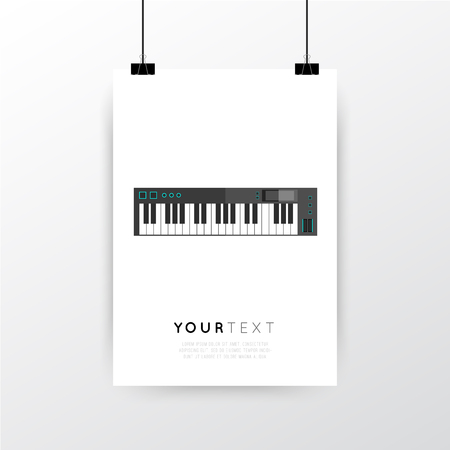 minimal: A4  A3 format poster minimal abstract Synthesizer design with your text, paper clips and shadow
