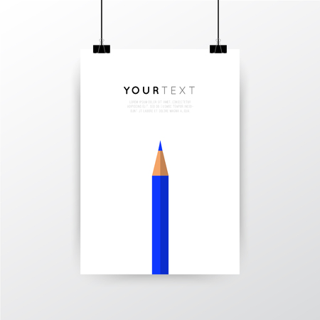 A4 / A3 format poster minimal abstract Crayon design with your text, paper clips and shadow