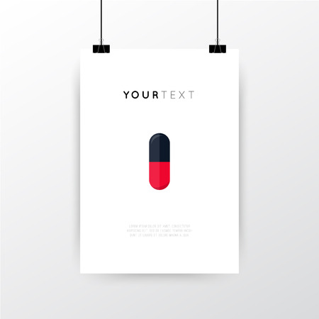 graphics design: A4  A3 format poster minimal abstract Pill design with your text, paper clips and shadow Illustration