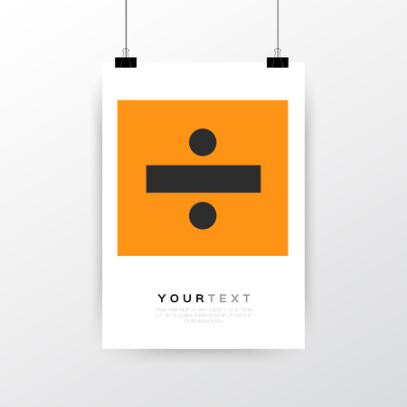 a3: A4  A3 format poster minimal abstract Divided design with your text, paper clips and shadow