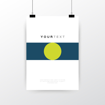 A4 / A3 format poster minimal abstract Geometric design with your text, paper clips and shadow