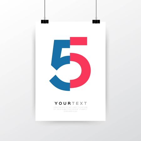 a3: A4  A3 format poster minimal abstract Number 5 design with your text, paper clips and shadow Illustration