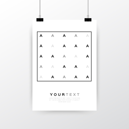 a3: A4  A3 format poster minimal abstract Letter A design with your text, paper clips and shadow