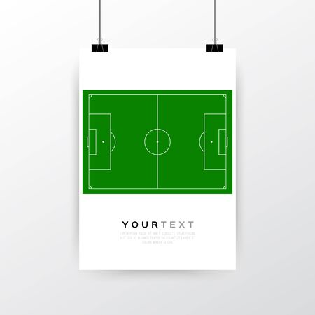 a3: A4  A3 format poster minimal abstract Classic Soccer field design with your text, paper clips and shadow