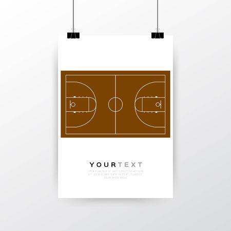 a3: A4  A3 format poster minimal abstract Vintage Basketball Court design with your text, paper clips and shadow