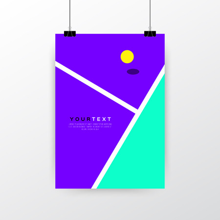 A4 / A3 format poster minimal abstract Tennis Concept design with your text, paper clips and shadow