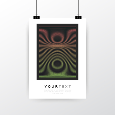 A4 / A3 Format Poster Minimal Abstract Geometric Line Design with your text, paper clips and shadow