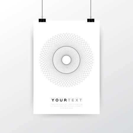 a3: A4  A3 Format Poster Minimal Abstract Geometric Line Circle Design with your text, paper clips and shadow