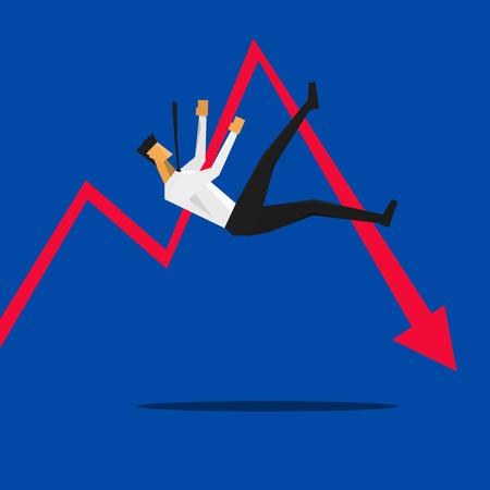 Negocios que cae hacia abajo con la flecha roja. Ilustración de negocio Concepto de dibujos animados.