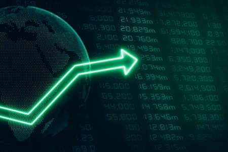 upwards: Global Business with Green Arrow Tending Upwards Stock Photo